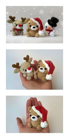 Crochet Christmas Decorations, Crochet Ornaments, Holiday Crochet, Crochet Crafts, Yarn Crafts, Crochet Projects, Free Christmas Crochet Patterns, Wood Crafts, Crochet Animal Patterns