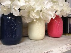 Painted Navy, White, and Pink Mason Jars. Perfect for Gifts, Home Decorations, and Weddings. on Etsy, $24.00