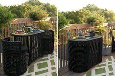 8 Space-Saving Table Ideas for Small Balcony Dining - Design - Balcony Furniture Design Small Balcony Furniture, Used Outdoor Furniture, Deck Furniture, Folding Furniture, Multifunctional Furniture, Furniture Ideas, Business Furniture, Furniture Design, Outdoor Balcony