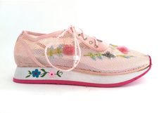 90's Pastel Pink Floral Mesh Sneakers ($38.00) - Svpply