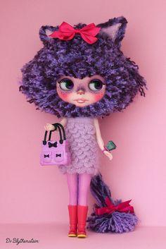 "Custom BLYTHE doll, YARN HEAD ""Jazz Cat"" by Dr. Blythenstein"