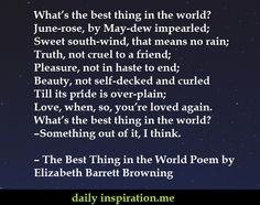 The Best Thing in the World Poem by Elizabeth Barrett Browning