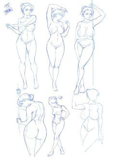 Cartoon Sketches, Drawing Sketches, Art Drawings, Life Drawing, Figure Sketching, Figure Drawing Reference, Sketch Manga, Manga Art, Drawing Female Body