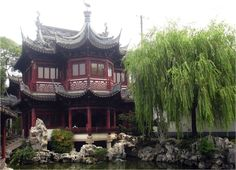 The Yu Garden Theater. A stage for traditional Chinese performances. Theaters were a rare element in traditional Chinese gardens and indicative of the wealth of its owners.
