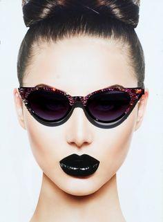 Garnet Colored Cateye Sunglasses with Rose and Garnet Swarovski Crystals