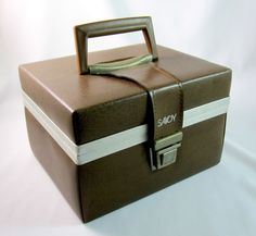 Savoy Vintage 8 Track Tape Storage Case with Handle Faux Brown Leather Vinyl 12 #Savoy
