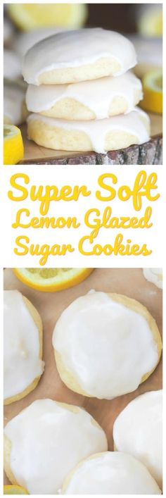 Super Soft Lemon Glazed Sugar Cookies - Cookies, Bars, Brownies, Pies, Cakes and More! - Super Soft Lemon Glazed Sugar Cookies – These delectable lemon glazed sugar cookies are super sof - Lemon Desserts, Lemon Recipes, Cookie Desserts, Just Desserts, Sweet Recipes, Baking Recipes, Delicious Desserts, Dessert Recipes, Yummy Food