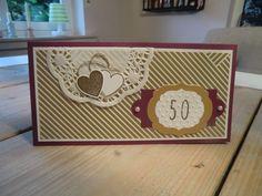 Stampin Up Karte zur Goldenen Hochzeit mit Hearts a Flutter, Framelits Hearts a Flutter, Skinny Mini Alphabet, Framelits Rahmen-Kollektion, Framelits Nostalgische Etiketten, Prägeform Perfect Polka Dots
