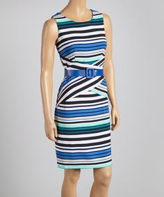 Take a look at this Voir Voir Blue & Aqua Stripe Belted Sheath Dress - Women on zulily today!