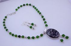 free shipping F-309 Green Forest Jasper-Green Jade .925 Silver Beaded Necklace Jewelry 64 Gr. by SILVERHUT on Etsy