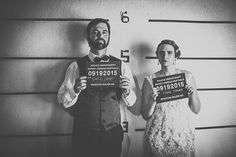 """A speakeasy jail wedding with retro 1920s style, bluegrass music (including a bluegrass cover of """"I Wanna Sex You Up,"""" and a mug shot photo booth. Are you all in or what? Don't mi…"""