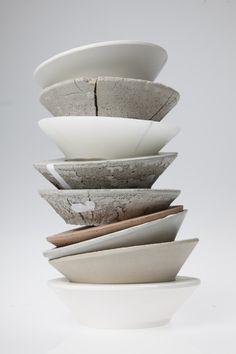 This double cast bowl pile represent Paris by its materials: Porcelain, concrete, wax