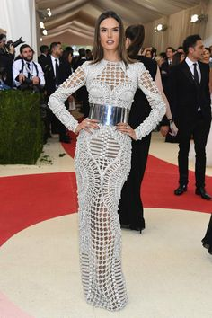 Alessandra Ambrosio in Balmain attends the Manus x Machina 2016 Met Ball Gala in NYC.