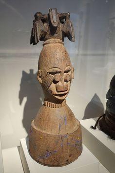 Ekine Masquerade Headdress for Water Spirits, Nigeria, Niger River Delta, Western Ijo people, mid 20th century, wood, pigment, metal - Chazen Museum of Art - DSC01745.JPG