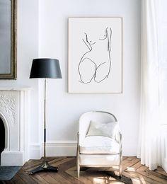 Female Form Illustration Art Print  Home Decor  by chloevaux