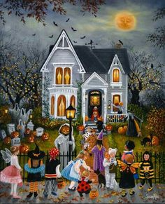 """A nw painting for Halloween """"Halloween House"""". Canvas prints available. ww… A nw painting for Halloween """"Halloween House"""". Canvas prints available. Photo Halloween, Halloween Vintage, Halloween Artwork, Halloween Painting, Halloween Images, Halloween Prints, Halloween Wallpaper, Halloween House, Halloween Night"""