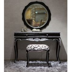 Black Vanity Set | Modern | Vintage | Elegant | Interior Design | batefurniture.com/shop/classic-vanity-set-black-silver/