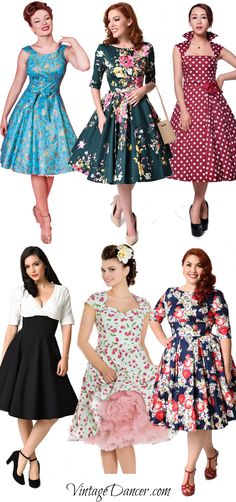 1950s Swing Dresses. Flowers, polka dots, cherries and more