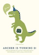 Cakeasaurus Dinosaur Kids Party Invitations by Pis... | Minted