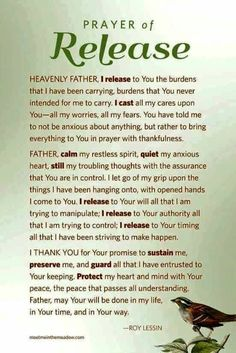Sweet Dreams: Prayer of Release. Believe Trust God & Walk it out. Prayer Times, Prayer Scriptures, Bible Prayers, Faith Prayer, God Prayer, Power Of Prayer, Prayer Quotes, Spiritual Quotes, Bible Quotes
