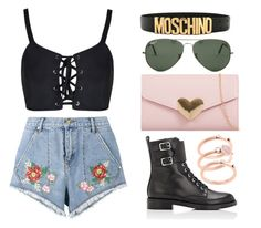 """Untitled #37"" by jarzembovska555 on Polyvore featuring House of Holland, Gianvito Rossi, Ray-Ban, Moschino and Michael Kors"
