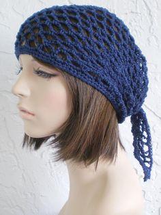 hand  crochet Bandana dorag hat  navy kerchief gypsy pirate beach hat