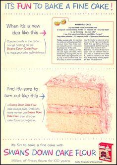 Ambrosia Cake- SWANS DOWN CAKE FLOUR FAMILY CIRCLE 02/01/1956 p. 63