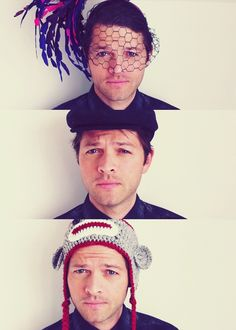 Misha Collins in hats... Can you call that first one a hat? Haha