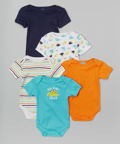 Look what I found on #zulily! bon bébé Blue 'Big Time Cute' Dinosaur Bodysuit Set - Infant by bon bébé #zulilyfinds