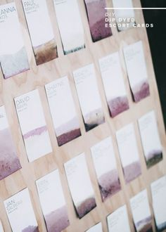 diy escort cards or seating chart or whatever you call it. - almost makes perfect card display diy escort cards or seating chart or whatever you call it. - almost makes perfect Diy Place Cards, Diy Cards, Diy Wedding Place Cards, Menu Cards, Seating Chart Wedding, Wedding Table, Wedding Stationary, Wedding Invitations, Wedding Favors