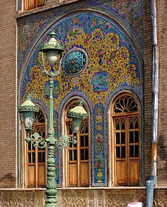 Glazed tiles of the former royal Golestan Palace, or The Rose Garden Palace, in Tehran, Iran by youngrobv Persian Architecture, Amazing Architecture, Art And Architecture, Voyage Iran, Sainte Sophie, Timor Oriental, Visit Iran, Ancient Persia, Persian Culture