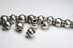 Items similar to Karen Hill Tribe Beads Fine Silver Large Hole Beads 5 pcs. on Etsy Large Hole Beads, Metal Beads, Round Beads, Jewelry Making, Pure Products, Sterling Silver, Unique Jewelry, Leather, Nooks