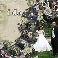 "neat wedding scrapbook layout - could also say ""you betcha"" haha"