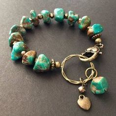 & Turquoise Nugget Bracelet by ReinaRiosDesigns on Etsy Diy Jewelry Unique, Boho Jewelry, Handcrafted Jewelry, Beaded Jewelry, Jewelery, Jewelry Design, Jewelry Trends, Fashion Jewelry, Gemstone Bracelets