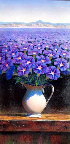 Magic Realism-Art Inspiration A Wish, Morning Glory by Ernesto Arrisueno (Peru, Oil on canvas, 76 x Eugenia Loli, Magic Realism, Arte Floral, Fine Art, Surreal Art, Optical Illusions, Oeuvre D'art, Flower Art, Amazing Art