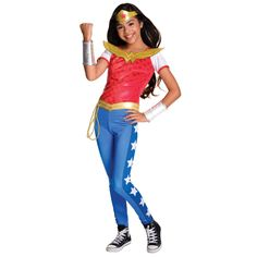 She can dress up as her favorite superhero with a Wonder Woman Costume for girls! This DC Super Hero Girls Wonder Woman Costume includes a shirt, pants, and a tiara. Batman Costume For Girls, Girl Superhero Costumes, Superhero Fancy Dress, Super Hero Costumes, Halloween Costumes For Girls, Halloween Fancy Dress, Girl Costumes, Costumes For Women, Halloween Night