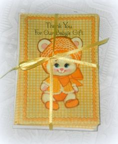 """Perfect for a vintage inspired Baby Shower, these vintage Baby Gift Thank You Cards say """"You couldn't have chosen anything nicer. All our thanks!"""""""