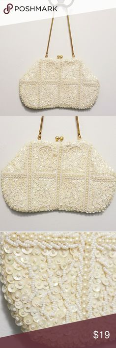 """🍃 Vintage Safco Evening Bag c. 1950's Excellent condition.  Exterior is in beautiful condition.  Interior is Satin and has no major wear, but a few marks from use (see photo 6).   Pearl and sequin. Safco made in Hong Kong  Measures 9"""" x 5"""" 12"""" metal strap Vintage Bags Clutches & Wristlets"""