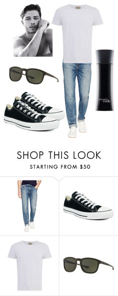 """White T"" by xoyourface on Polyvore featuring Joe's Jeans, Converse, Oliver Spencer, Oakley, Giorgio Armani, mens, men, men's wear, mens wear and male"