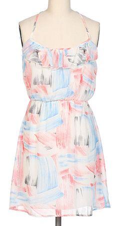 White  Blue Paintbrush Ruffle Sleeveless Dress