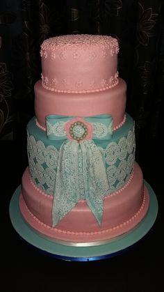 Pink & Blue Lace Vintage Wedding Cake Wedding Favours, Wedding Reception, Wedding Cakes, Blue Lace, Pink Blue, Chocolate Stout, Fondant Icing, Artisan Bread, Marzipan