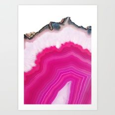 Art Print featuring Pink Agate Slice by Cafelab