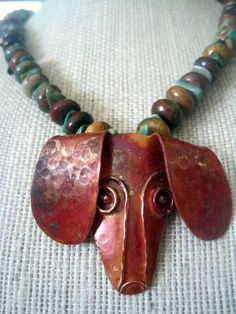 Artisan HandCrafted Antiqued Copper Dachshund Focal by bebajewels, $42.00