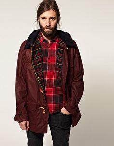 Gloverall. Waxed Cotton Duffle Coat. Burgundy - ASOS