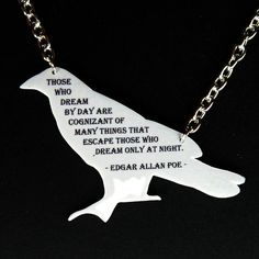 This. Is. AWESOME. A raven necklace bearing one of my favourite Poe quotes!!! I want this...now!
