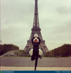 #Yoga Poses Around the World: Tree Pose taken in Paris, France by C Robin D.