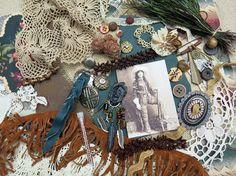 Cowgirl Indian Scout ...Vintage Mixed Media Kit 38 by GypsyFeather