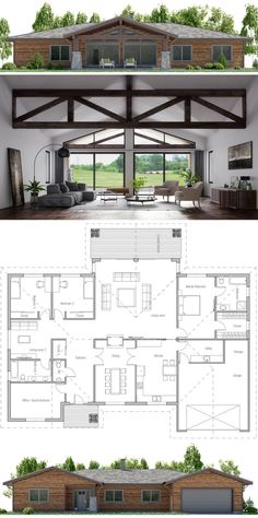 Love the beams! Would want to kitchen open to the living space though Love the beams! Would want to kitchen open to the living space though New House Plans, Dream House Plans, Modern House Plans, Small House Plans, House Floor Plans, Living Room Floor Plans, Future House, My House, Cottage House