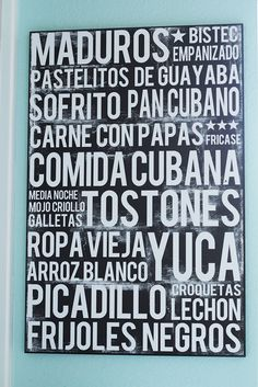 Cuban Food Poster Word Art Food Art Print by MartaDarbyDesigns