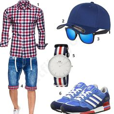 Blau-Weiß-Rotes Herren-Outfit mit Jeans-Shorts (m0417) #outfit #style #fashion #menswear #mensfashion #inspiration #shirt #cloth #clothing #männermode #herrenmode #shirt #mode #styling #sneaker #menstyle